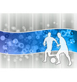 White soccer players on the blue wave vector image