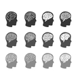 Think icons Thinking brain in human head icons vector image