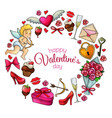 round frame with sketch valentines day icons vector image