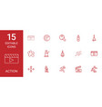 15 action icons vector image vector image