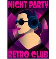 abstract retro poster with a girl DJ vector image vector image