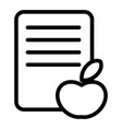 apple and list line icon fruit and list vector image vector image