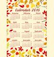 autumn foliage of fall leaf calendar 2018 vector image