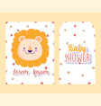 baby shower cute lion face animal cartoon dotted vector image vector image
