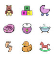 bathings icons set cartoon style vector image vector image