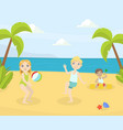 boy and girl playing ball and having fun on the vector image vector image