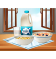 Breakfast on table with milk and cereal vector image