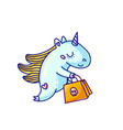 charming unicorn with halloween shopping vector image vector image