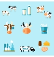 cute cartoon of a cow and products we vector image vector image