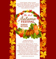 fall festival poster of autumn vegetable and leaf vector image vector image