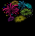 Fireworks on black background vector image vector image