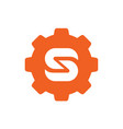 gear symbol combined with letter s logo vector image vector image