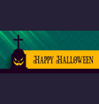 happy halloween banner with scary grave and vector image vector image