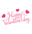 Happy Valentines Day Script With Hearts vector image vector image