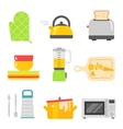 Kitchen dishes flat icons isolated on white vector image vector image