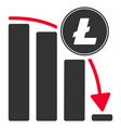 litecoin falling acceleration chart flat icon vector image vector image