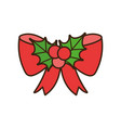 merry christmas red bow and holly berry decoration vector image