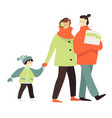 mom and dad with child walking in winter vector image vector image