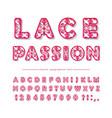 openwork decorative font lacy creative abc vector image
