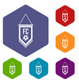 pennant with soccer ball icons set hexagon vector image