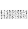 portraits middles ages people doodle set vector image vector image