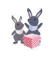 rabbits gift boxes happy easter vector image vector image
