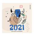 retro bull banner for new year greetings social vector image