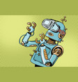 scared retro robot in vr glasses vector image