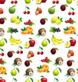 seamless pattern of different fruits with leaves vector image