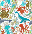 seamless pattern of wild sea life vector image