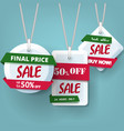 season end sale tags holiday discount on blue vector image