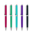 set automatic ballpoint pen in colorful cases vector image vector image