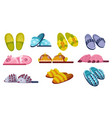 set home footwear slippers soft comfortable vector image