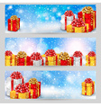 set horizontal festive winter banners vector image