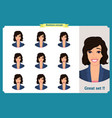 set of woman expression isolated on white flat vector image vector image