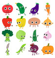 smiling vegetables icons set cartoon style vector image vector image