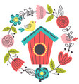 spring floral frame with bird and birdhouse vector image vector image