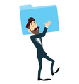 Successful Businessman Holding Folder vector image