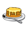 sweet pancakes with honey on the plate vector image