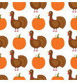turkey and pumpkin cartoon thanksgiving seamless vector image