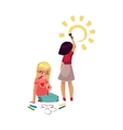 Two little girls drawing standing and sitting on vector image