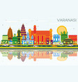 varanasi india city skyline with color buildings vector image vector image