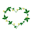 Vine of Flower and Leaves in Beautiful Heart Shape vector image vector image