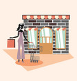 woman retro store shopping bags vintage grunge vector image vector image
