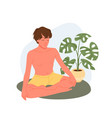 yoga people meditate young man sitting vector image