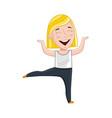 smiling little girl doing sport exercise vector image