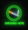 glowing neon sign of smoking place on dark brick vector image