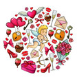 round template with sketch valentines day icons vector image