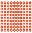 100 woman shopping icons hexagon orange vector image vector image