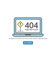 404 concept error line icon page not found error vector image vector image